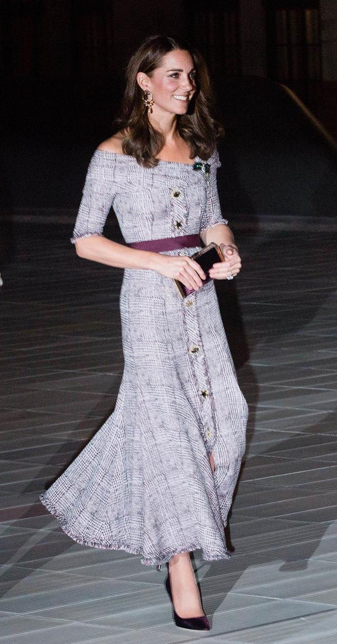 "**Style icon:** Fans swooned when Catherine stepped out in this chic off-shoulder tweed Erdem dress [in London last October.](https://www.nowtolove.com.au/royals/british-royal-family/kate-middleton-new-dress-51751|target=""_blank"") *(Image: Getty)*"