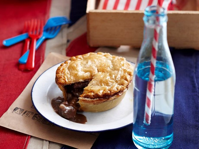 """**Aussie beef and shiraz pies** <br><br> An Australian icon, the humble Aussie pie is given a re-vamp worthy to serve to family and friends. A hot, tasty beef, shiraz and mushroom filling is encased in a flakey, golden pastry that will delight dinner guests. <br><br> See the full *Australian Women's Weekly* recipe [here](https://www.womensweeklyfood.com.au/recipes/aussie-beef-and-shiraz-pies-25852