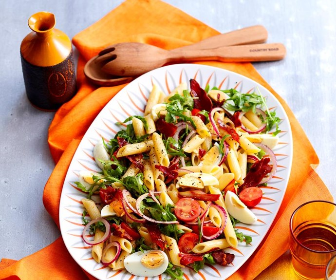 """**Caesar pasta salad** <br><br> The anchovies in the dressing give this salad a delicious salty kick.  <br><br> See the full *Australian Women's Weekly* recipe [here.](https://www.womensweeklyfood.com.au/recipes/caesar-pasta-salad-18211
