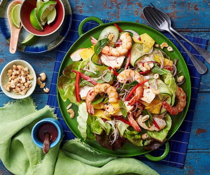 """**Chicken, prawn and mango salad** <br><br> Freshen things up with this delicious and wholesome chicken, prawn and mango salad. Packed full of flavour and crunch, this is sure to become a family favourite! <br><br> See the full *Australian Women's Weekly* recipe [here](https://www.womensweeklyfood.com.au/recipes/chicken-prawn-and-mango-salad-29311