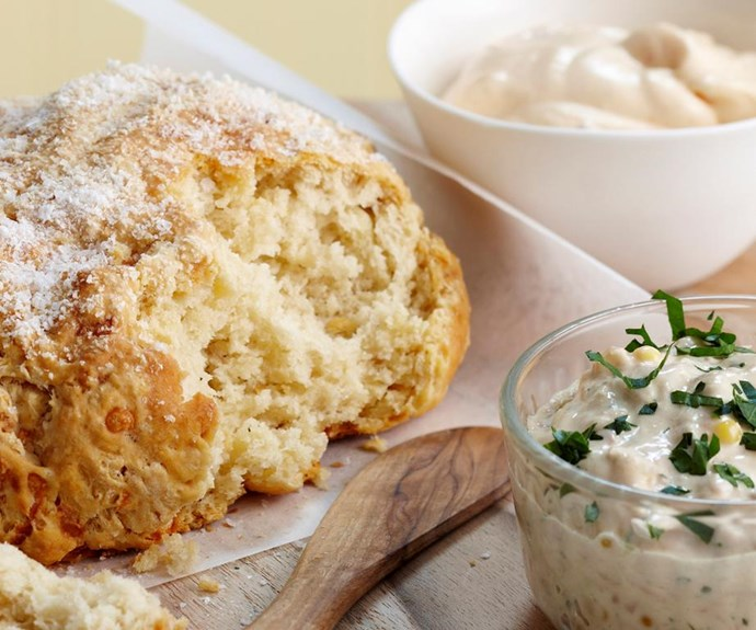 """**Damper and dips** <br><br> Served with two simple dips, this homemade damper is a perfect addition to a big Australia Day spread.  <br><br> See the full *Australian Women's Weekly* recipe [here](https://www.womensweeklyfood.com.au/recipes/damper-and-dips-26024