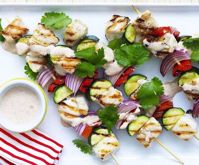 """**Grilled fish kebabs** <br><br> These are super easy to make for any pescatarians who turn up to your Australia Day barbecue.   <br><br> See the full *Australian Women's Weekly* recipe [here](https://www.womensweeklyfood.com.au/recipes/grilled-fish-kebabs-2982