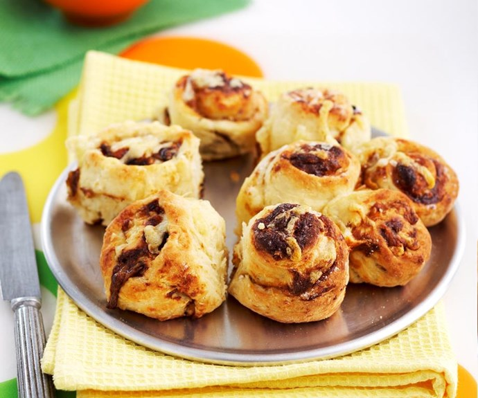 """**Mini Vegemite and cheese scrolls** <br><br> These cheese and vegemite embrace classic Aussie flavours in a delicious baked bread - they're also perfect for an after school snack or a tasty lunchbox treat the following day! <br><br> See the full *Australian Women's Weekly* recipe [here](https://www.womensweeklyfood.com.au/recipes/mini-vegemite-and-cheese-scrolls-27319