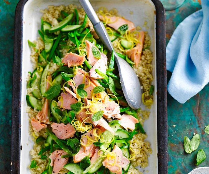 """**Salmon and quinoa salad** <br><br> Enjoy this deliciously fresh salmon and quinoa salad if you're trying to keep the kilos at bay. <br><br> See the full *Australian Women's Weekly* recipe [here](https://www.womensweeklyfood.com.au/recipes/salmon-and-quinoa-salad-28686