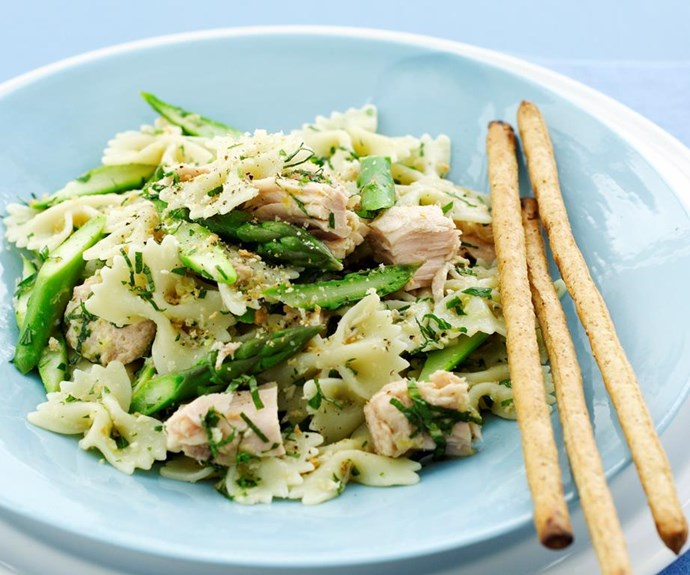 """**Tuna and lemon pasta salad** <br><br> This is an upmarket version of the tasty and easy midweek meal that will look very pretty on the table this Australia Day.  <br><br> See the full *Australian Women's Weekly* recipe [here](https://www.womensweeklyfood.com.au/recipes/tuna-and-lemon-pasta-salad-28323