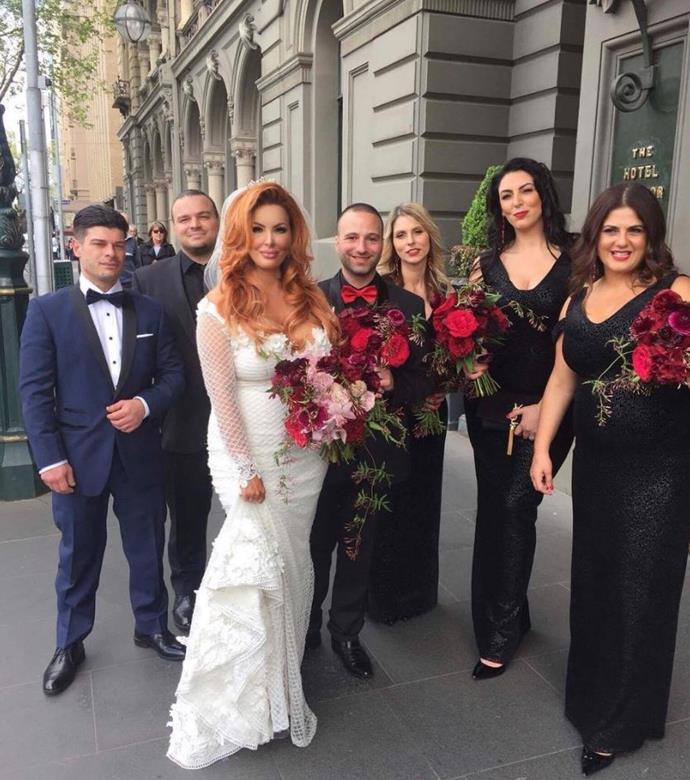 Sarah Roza with her bridal party on the set of MAFS, Season 5. *(Source: Network Ten)*