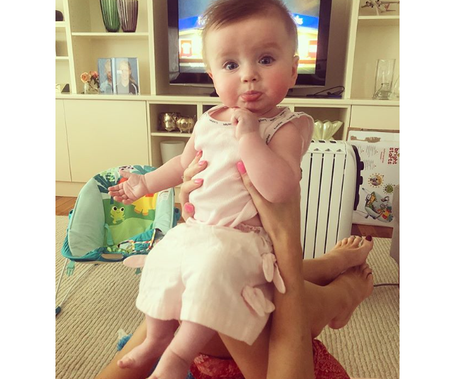 Mummy daughter playtime is high on Erin's list of priorities. Little Eliza just brings the cute! *Image: Instagram/Erin Molan*