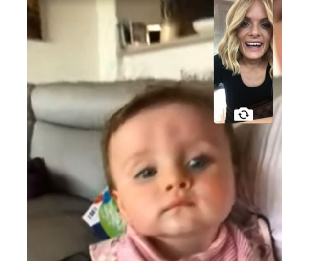 """""""I'm trying to FaceTime before my flight home... she's trying to see the TV over the phone"""". *Image: Instagram/Erin Molan*"""