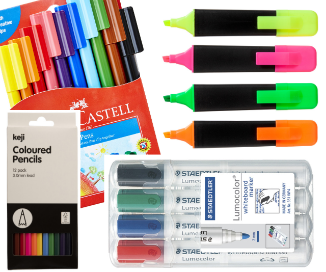 "Families can save by going through last year's supplies and seeing what actually needs replacing, of course … but boy-oh-boy how good is that brand-new-stationery feeling? Some great basics are: Faber-Castell Connector Pens 10 Pack, Keji Highlighters Chisel Assorted 4 Pack, Keji Coloured Pencils 12 Pack, Staedtler 351 Whiteboard Markers Bullet Tip Assorted 4 Pack. ***Image: [Officeworks](https://www.officeworks.com.au|target=""_blank""