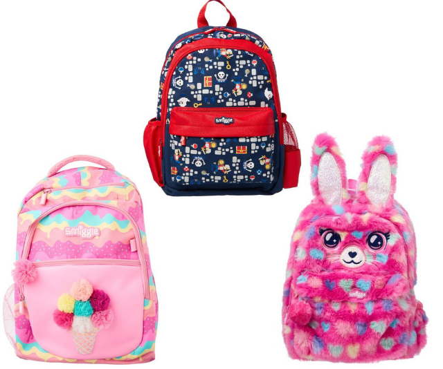 "Back packs have never been so rad! Stand out from the crowd with Smiggle's Faves Backpack, Junior Bounce Backpack and Junior Fluffy Hop Backpack. [***Image: Smiggle***.](https://www.smiggle.com.au|target=""_blank""