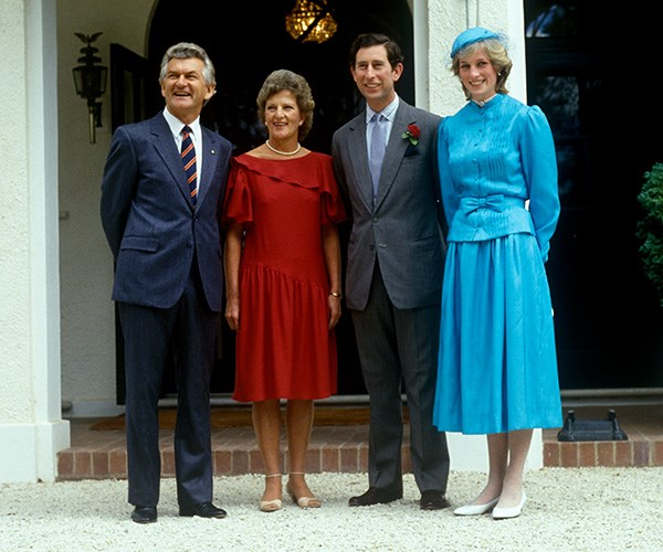 Bob and Hazel Hawke greet Prince Charles and Princess Diana on their royal tour of Australia in 1983. *(Image: Getty Images)*