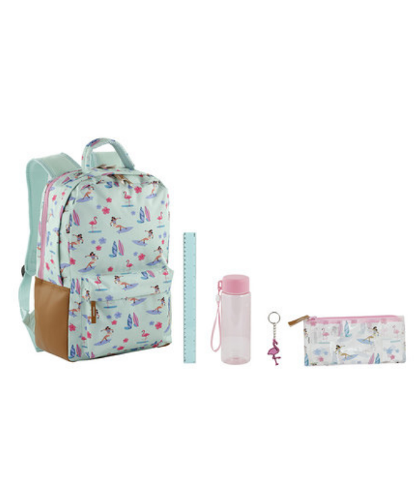 "https://www.kmart.com.au 5 Piece Backpack Island - Includes 1 x backpack, 1 x pencil case, 1 x water bottle, 1 x ruler and 1 x key ring RRP $20. ***[Image: Kmart.](https://www.kmart.com.au|target=""_blank""