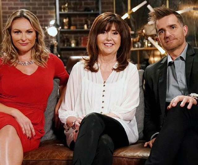 Trisha and the expert panel, made up of Mel Schilling (L) and John Aiken, are set to return to our screens on the 2019 season of *Married At First Sight*, which premieres Sunday, January 28th. *(Image: Channel Nine)*