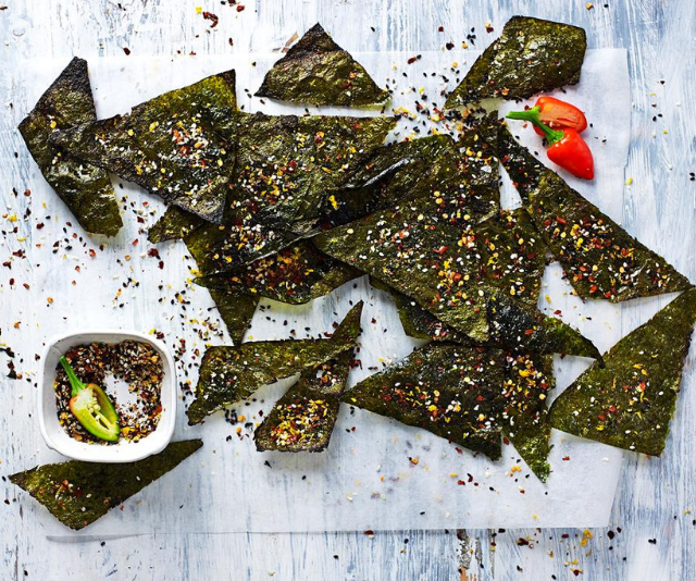 "***Toasted nori chips:*** Get creative in the kitchen and whip up some of these deliciously crunchy toasted nori chips! A great idea for healthy snacking, and perfect for lunchboxes. *Find the recipe [HERE.](https://www.womensweeklyfood.com.au/recipes/toasted-nori-chips-29588|target=""_blank"")*"