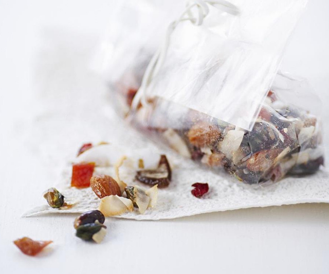 "***Dried fruit and coconut trail mix:*** Trail mix is an excellent way to satisfy your child's hunger because high-protein nibbles, with healthy fats keep bellies feeling full. *See the full recipe [HERE.](https://www.womensweeklyfood.com.au/recipes/dried-fruit-and-coconut-trail-mix-11055|target=""_blank"")*"