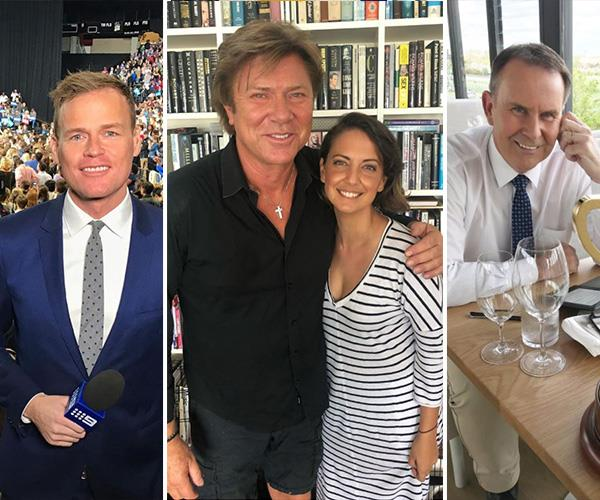 From left to right: Tom Steinfort, Brooke Boney (with Richard Wilkins) and Tony Jones. *(Images: Instagram @tomsteinfort/Instagram @boneybrooke/Twitter @TJch9)*