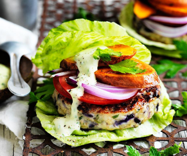 "***The green turkey burger:*** Take this delicious lettuce wrapped burger to the next step and veg it up! Replace turkey patties with pan-fried haloumi or fried flat mushrooms. *Find the recipe [HERE.](https://www.womensweeklyfood.com.au/recipes/the-green-turkey-burger-29400|target=""_blank"")*"