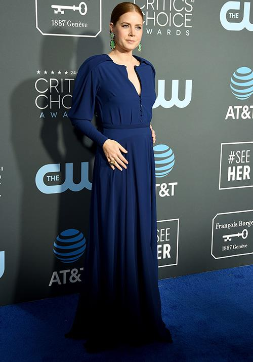 Amy Adams twinned with Kristen Bell (and the carpet) in an elegant blue long sleeved style. *(Image: Getty)*