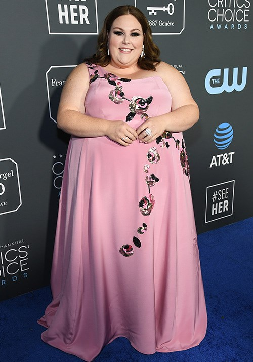 Chrissy Metz's Kate Spade gown is pink perfection! *(Image: Getty)*