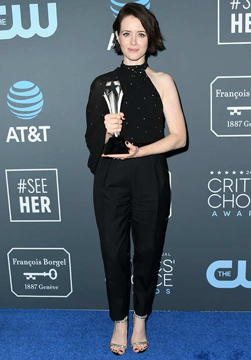 Viva la pant suit! *The Crown* actress Claire Foy looked bold and classy in this black ensemble. And her performance in the below video is just as brave! *(Image: Getty)*