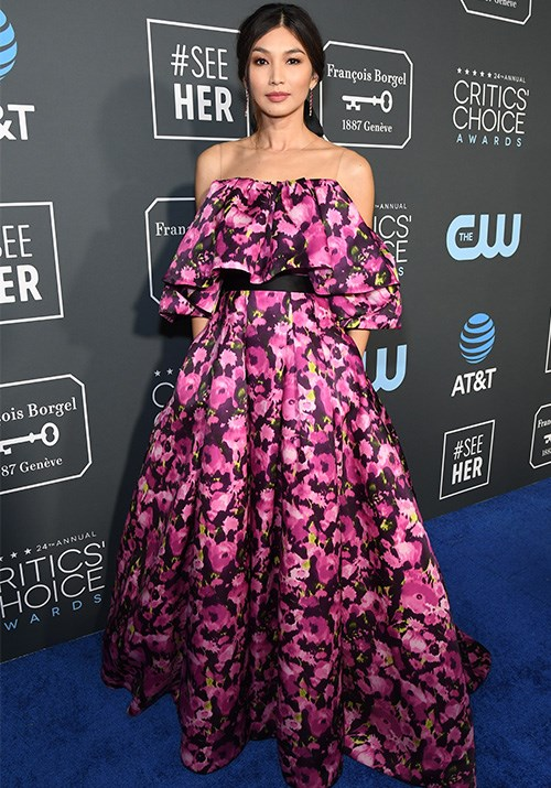 *Crazy Rich Asians* star Gemma Chan looked heavenly in a floral Jason Wu number.  *(Image: Getty)*