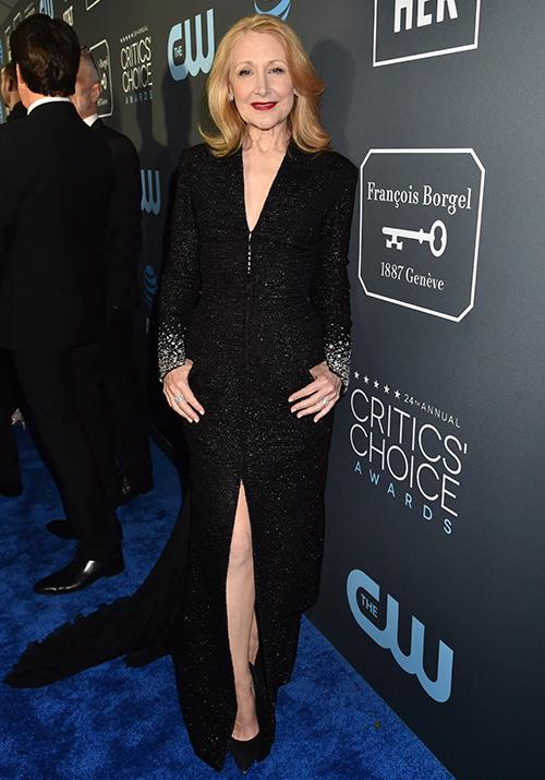 Age is nothing by a number for this silver-screen siren. 59-year-old Patricia Clarkson looks stunning in a Georges Chakra Couture dress. *(Image: Getty)*