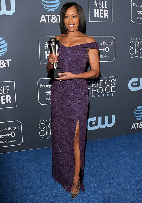 She's won more than just a Critics Choice Award! Winning best supporting actress for her performance in *If Beale Street Could Talk*, Regina King looks divine in this purple sequin dress. *(Image: Getty)*