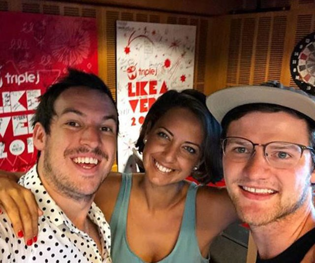 A nose for news: Brooke was a key player on Triple J's breakfast radio show with Ben and Liam. *(Image: @boneybrooke Instagram)*