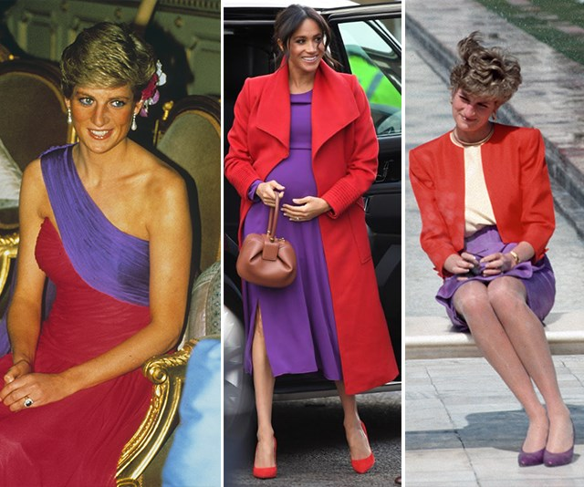 During her first royal engagement with Prince Harry of 2019, pregnant Duchess Meghan channelled her mother-in-law in bright red and purple hues.  <br><br> Princess Diana wore the same colours in Thailand in 1988 and when she made her famous solo trip to India's Taj Mahal in 1992. *(Images: Getty Images)*