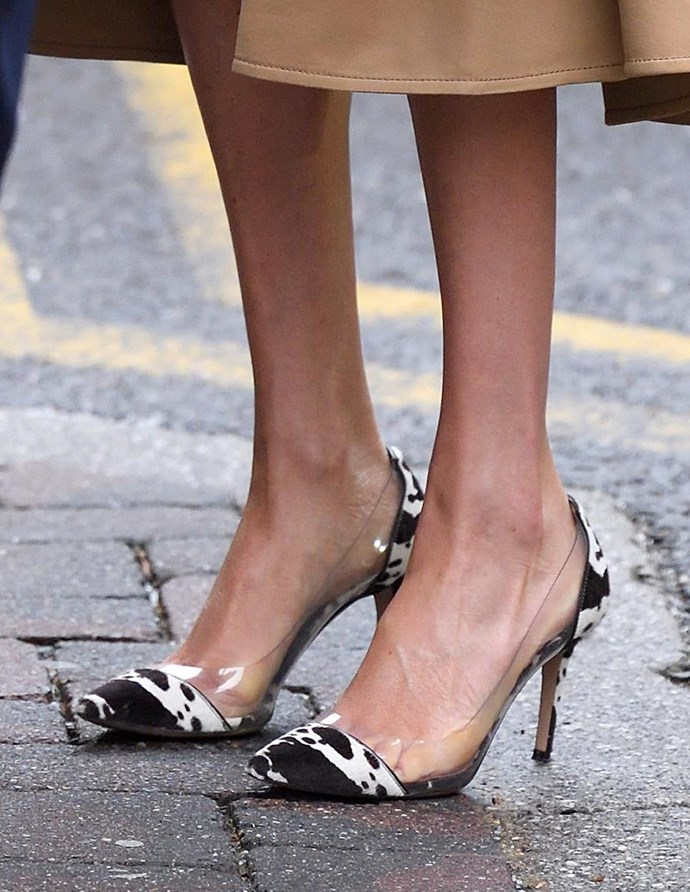 And while Meghan kept her clothing choices relatively simple, her shoes were another story. These Gianvito Rossi cow-print pumps did all the talking! *(Image: Getty Images)*