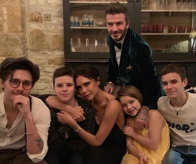 The unbelievably photogenic Beckhams looked dapper for NYE 2018. *(Image: Instagram @victoriabeckham)*