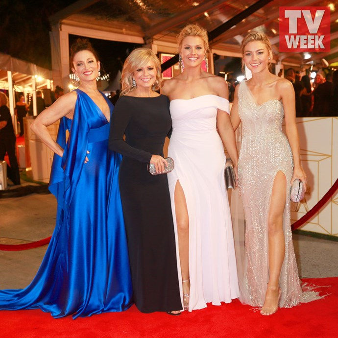 Sam Frost at the 2018 TV WEEK Logie Awards with her *Home and Away* co-stars Georgie Parker, Emily Symons and Sophie Dillman.