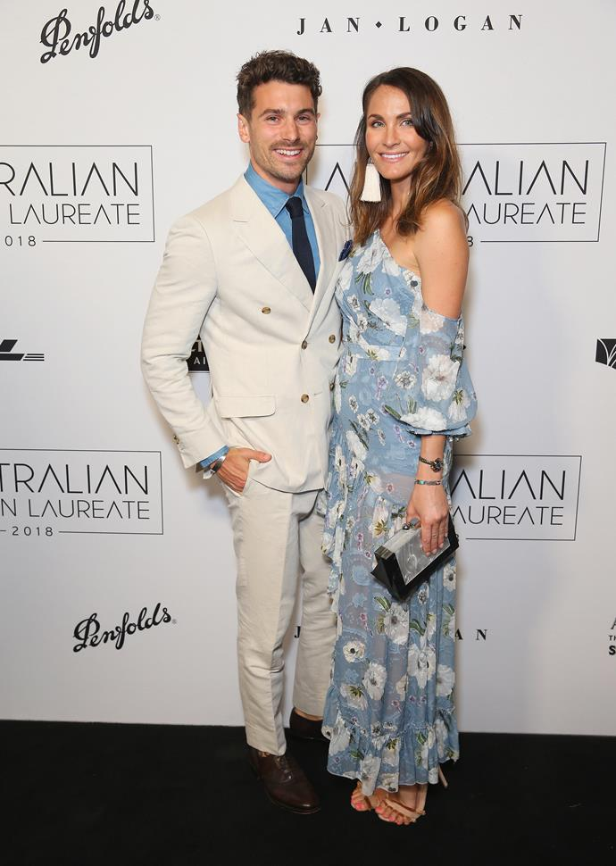 Matty J and Laura - sporting an adorably tiny baby bump - just before announcing their pregnancy. *(Image: Getty)*