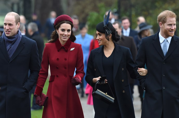 The two couple's put on their smiles for Christmas Day. *(Image: Getty)*