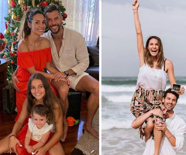 Success stories: Mr and Mrs Wood celebrate their first Christmas together as husband and wife, while Laura and Matty J are due to become parents later this year. *(Images: Instagram)*
