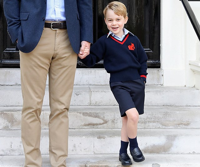 School shoe shopping can be a drag, but it's worth it when your kids end up looking as chuffed as Prince George! *(Image: Getty)*