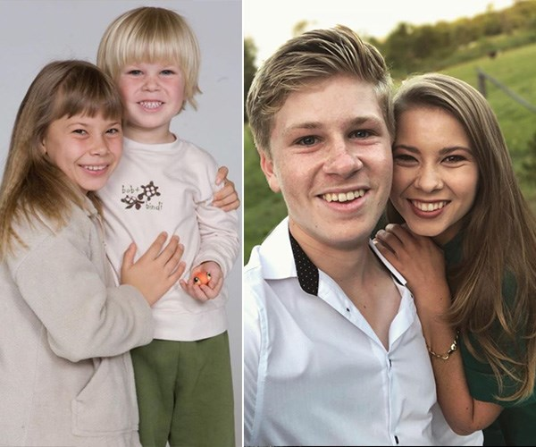 They'll always be those cuties on the left! Bob Irwin shared an adorable photo of himself and big sister Bindi Irwin in 2009 and 2019. *(Image: Instagram @robertirwinphotography)*