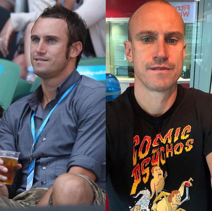 """Ahhhh remember the days when Fitzy had hair?!"" The team at Nova shared this hilarious throwback of breakfast radio host Ryan 'Fitzy' Fitzgerald then and now. *(Image: Instagram @fitzyandwippa)*"