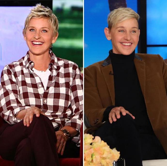 "Speaking of never ageing, check out talk show queen Ellen! ""I never realized how differently I hold my hand now,"" she joked on social media. *(Image: Instagram @theellenshow)*"