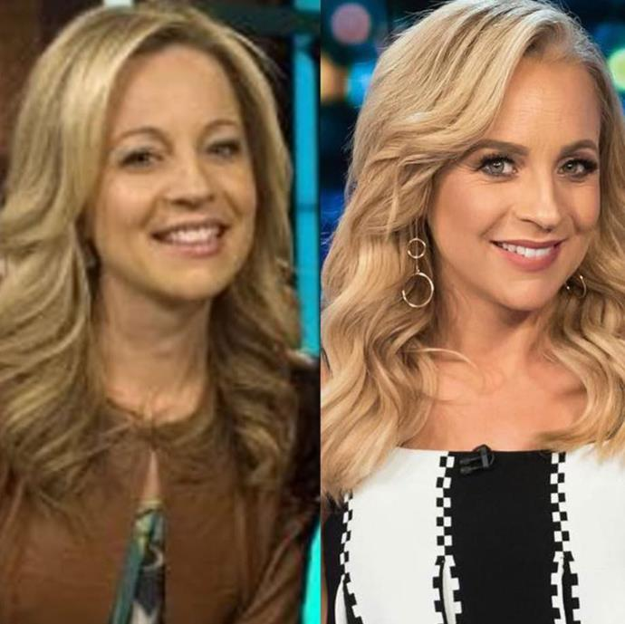 Can you believe *The Project* started 10 years ago? Check out 2009 Carrie Bickmore versus the Carrie we know and love today. *(Image: Instagram @carrietommyshow)*