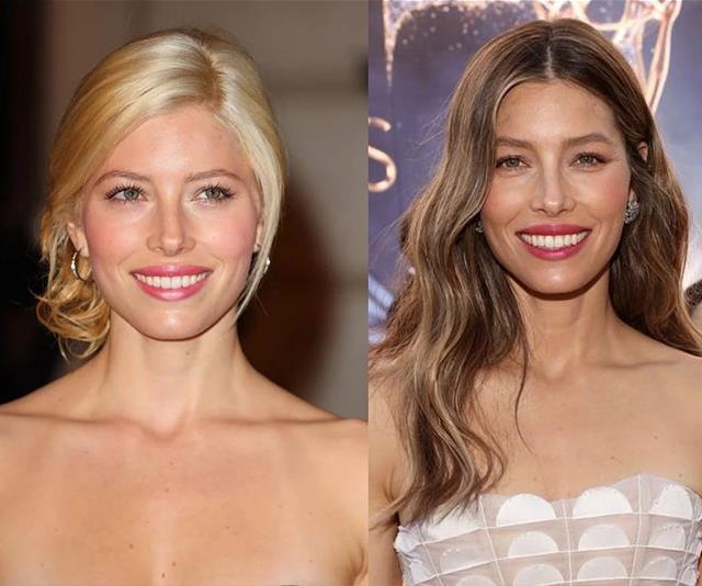 Jessica Biel in her tan lines, hoops and blonde days versus Jessica Biel today. *(Image: Instagram @jessicabiel)*