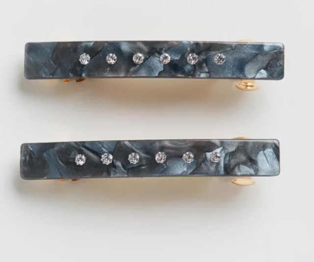 """Valet Mini Barrettes Pair, $40. Available online via The Iconic [here](https://www.theiconic.com.au/mini-barrettes-pair-679335.html