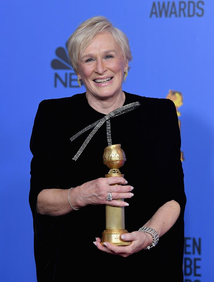 Glenn Close accepting her Golden Globe award. *(Image: Getty)*