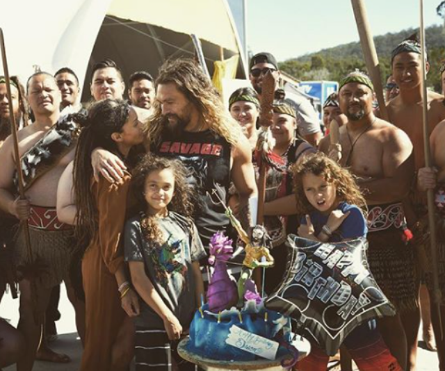 """I have never been so surprised in my life. 38 is the greatest to date,"" writes Momoa after Bonet and their kids flew in to Australia to surprise him on set of *Aquaman.* *(Image: Instagram/PrideOfGypsies.)*"