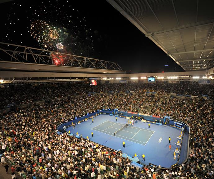 If you're lucky enough to have scored a ticket to the **Australian Open** on Saturday night, you'll be treated to a fantastic view of the fireworks from Rod Laver Arena following the Women's Singles Final. *(Image: Getty)*