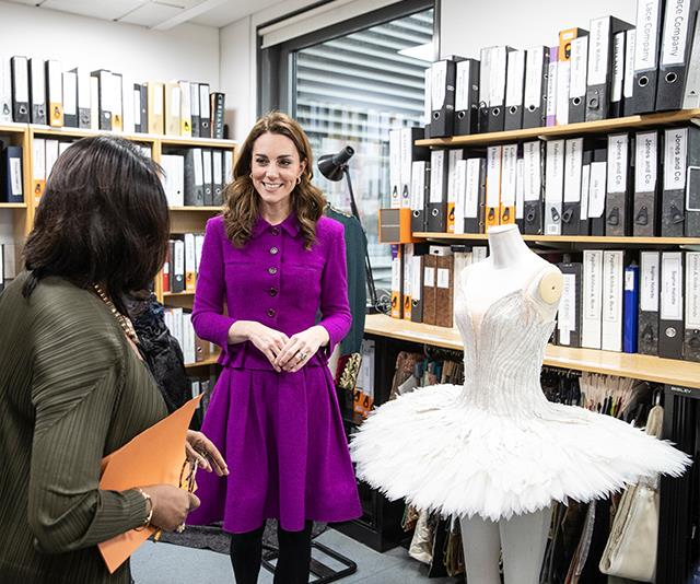 The Duchess visited the Royal Opera House's costume department which will maintain and create up to 10,000 costumes every year. *(Image: Getty Images)*