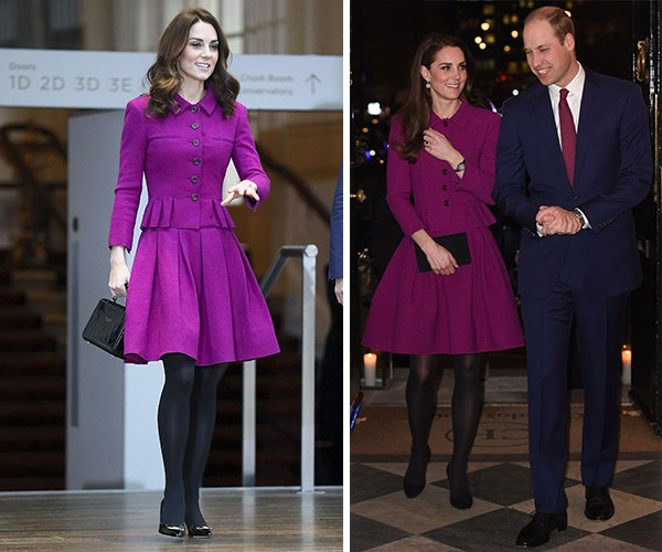 Royals recycle too! The Duchess of Cambridge stepped out in the same outfit she wore for a royal engagement in 2017. *(Images: Getty Images)*