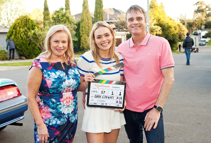 Lilly with her on-set gran Sheila (Colette Mann) and dad Gary (Damien Richardson).