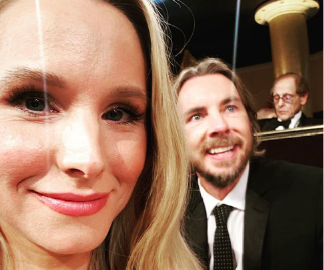 """Loved-up Kristen often uses social media as a journal to her daughters, capturing sweet moments in time for them to have forever. This one was captioned: """"Look how cute your dad is when he watches the show... #goldenglobes2019"""". *Image: Instagram/KristenAnnieBell*"""