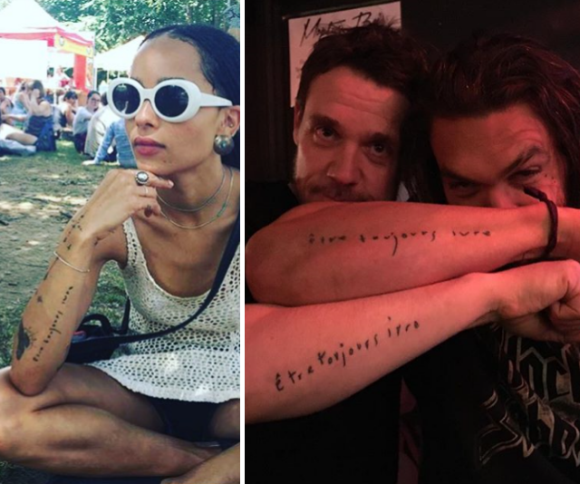 "Momoa shares a particularly close relationship with his step-daughter, Zoe. The pair even sport matching tattoos which  read ""etre toujours ivre,"" roughly translated to ""be always drunk."""